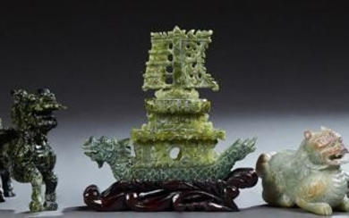 Group of Seven Chinese Spinach Jade Carvings, 20th c.,