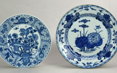 (2) Chinese Export porcelain blue & white plates