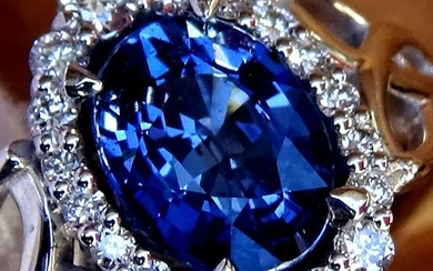 14 kt. White gold - Ring Sapphire - Ceylon Blue - Diamonds - No Reserve