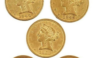 Five Charlotte Mint Five Dollar Gold Coins