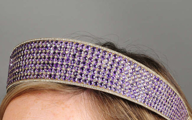 A late 19th century silver and gold, amethyst and paste Kokoshnik tiara.