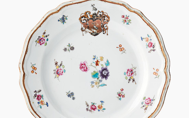A Chinese famille rose armorial plate