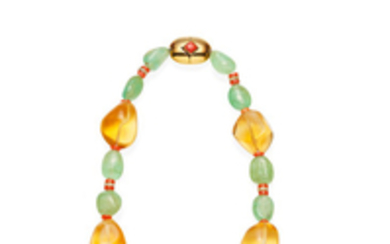 An emerald, citrine and coral bead necklace