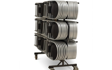 Folding Chairs with Rolling Racks