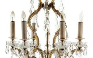 A Gilt Metal and Cut Glass Chandelier