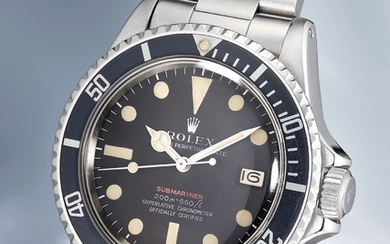 "Rolex, Ref. 1680 A very rare stainless steel wristwatch with center seconds, date, MKII ""Red Sub"" dial, bracelet, guarantee and box"