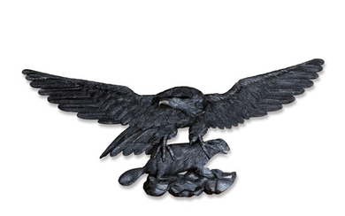 VERY FINE AND RARE LARGE CARVED AND BROWN PAINTED PINE SPREAD-WINGED AMERICAN EAGLE CLUTCHING A BEAVER WALL PLAQUE, NEW YORK OR ENGLAND, CIRCA 1850