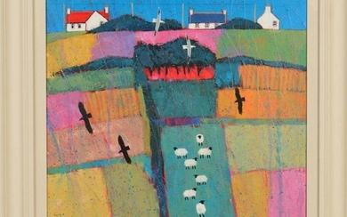 DAVID BODY (BRITISH CONTEMPORARY) 'HILLTOP HOUSES' a colourf...