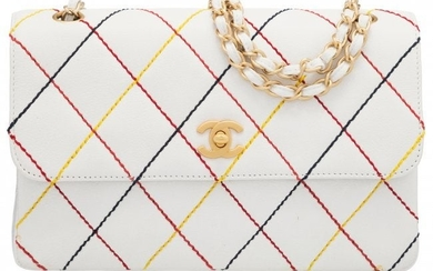 58053: Chanel White Quilted Caviar Leather Multi-Color