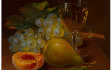 George Forster (1817-1896), Still Life with Fruit and Wine Glass (1872)