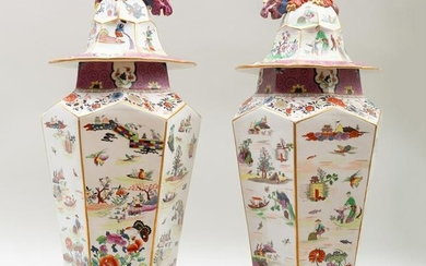 Pair of Large Mason's Ironstone Chinoiserie Vases and