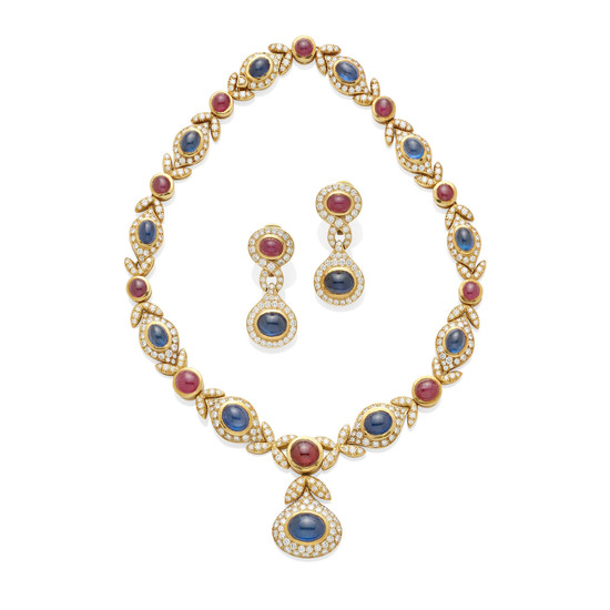 A sapphire, ruby and diamond necklace and ear clip set