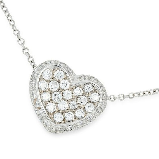 DIAMOND HEART PENDANT AND CHAIN the heart body jewelled