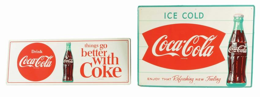 LOT OF 2: SELF-FRAMED COCA-COLA ADVERTISING SIGNS.