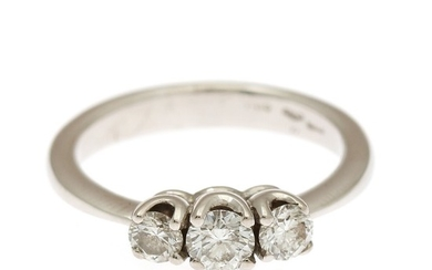 A diamond ring set with three brilliant-cut diamonds totalling app. 0.60 ct., mounted in 18k white gold. Size 53. I-J/VS-SI.