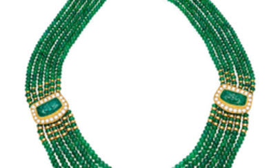 An emerald and diamond necklace,