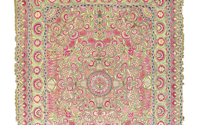 A FINE AND LARGE METAL-THREAD EMBROIDERED PANEL, DECCAN, INDIA, CIRCA 1800