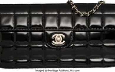 16054: Chanel Black Quilted Patent Leather Rectangular