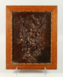 19TH CENTURY FRENCH SCHOOL. A BRONZE PLAQUE OF A GIRL