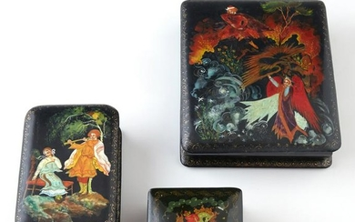 Group of Three Russian Black Lacquer Boxes, 20th c.,