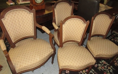 Pair of late 19th Century French carved walnut and upholster...