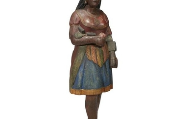 Carved and painted tobacconist figure of a Native