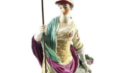 A Derby Porcelain Figure of Minerva, circa 1765, the standing...