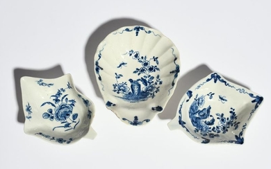 Three Worcester blue and white pickle dishes c.175…