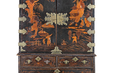 A Queen Anne japanned cabinet on chest