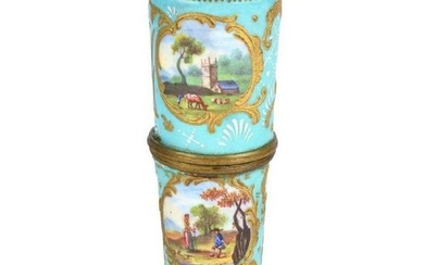 19Th Century French Sevres Style Enamel Covered Box.