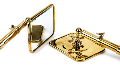 A pair of brass side-mirrors,