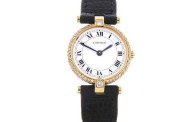 CARTIER - a lady's 18ct yellow gold Vendome wrist watch.