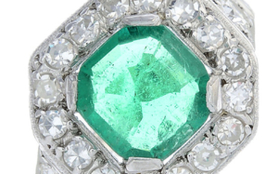 A Colombian emerald and diamond dress ring.