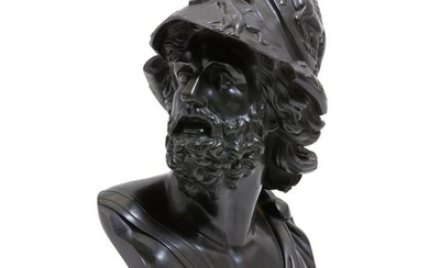 A Continental patinated bronze bust of Ajax