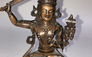 A Copper Alloy Figurine of Manjushri