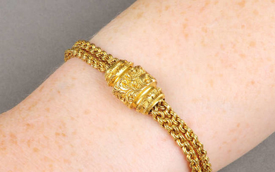 A late Victorian 18ct gold Albertina.Maker's mark C.G.