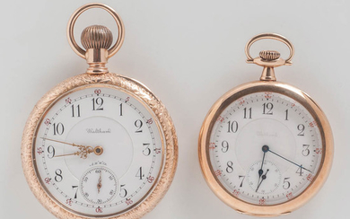 Two 14kt Gold Waltham Open-face Watches