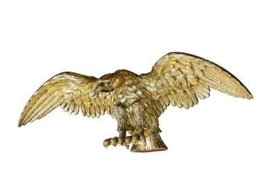 VERY FINE AND RARE CARVED GILTWOOD SPREAD-WINGED AMERICAN EAGLE, ATTRIBUTED TO WILLIAM RUSH, PHILADELPHIA, PENNSYLVANIA, CIRCA 1830