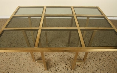 FRENCH BRASS TINTED GLASS BREAKFAST TABLE 1970