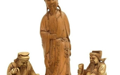 (3) CHINESE CARVED WOOD, STONE FIGURES ZHUGE LIANG