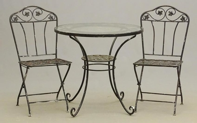 Glass Top Table & (2) Folding Chairs