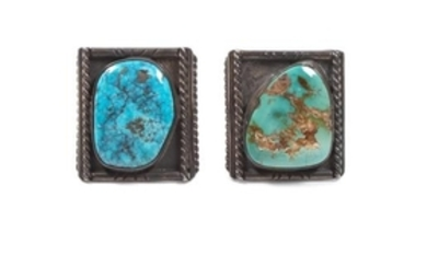 Two Navajo Silver and Turquoise Rings