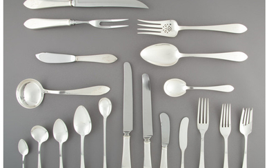 A One Hundred Thirty-Three-Piece Tiffany & Co. Faneuil Pattern Silver Flatware Service (designed 1910)