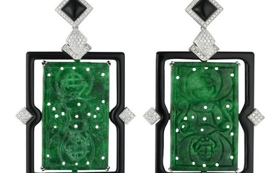 A Pair of Jade Onyx and Diamond Earrings