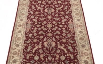 Hand-Knotted Silk and Wool Blend Tabriz Carpet