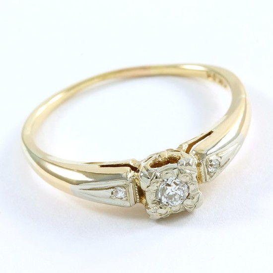 14 kt. White gold, Yellow gold - Ring - 0.12 ct Diamond