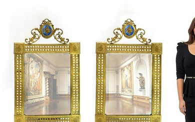 19th C. French Pair of Bronze Mirror with Enamel