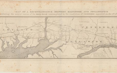 """Map of a Reconnaissance Between Baltimore and Philadelphia Exhibiting the Several Routes of the Mail-Road Contemplated by the Resolution of Congress Approved on the 4th of May 1826"", U.S. Government"