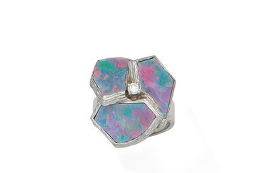 An opal doublet and diamond ring,