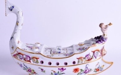 A RARE 19TH CENTURY GERMAN BOAT SHAPED PORCELAIN
